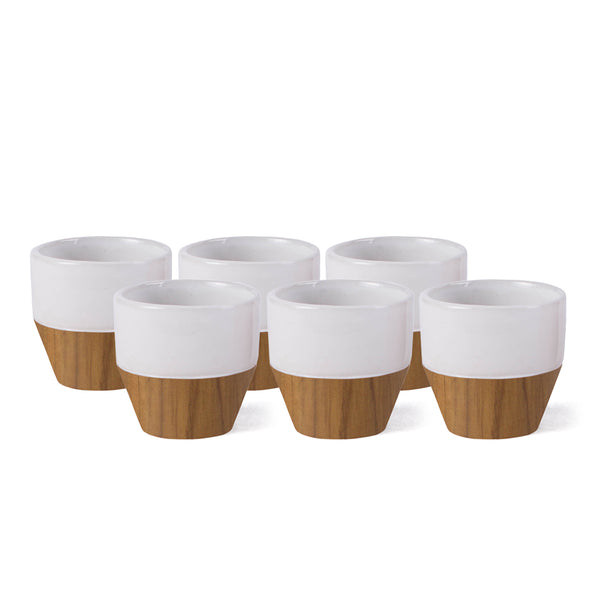 Handmade Sandstone and Teak Wood MAÏ EXPRESSO Cup Set