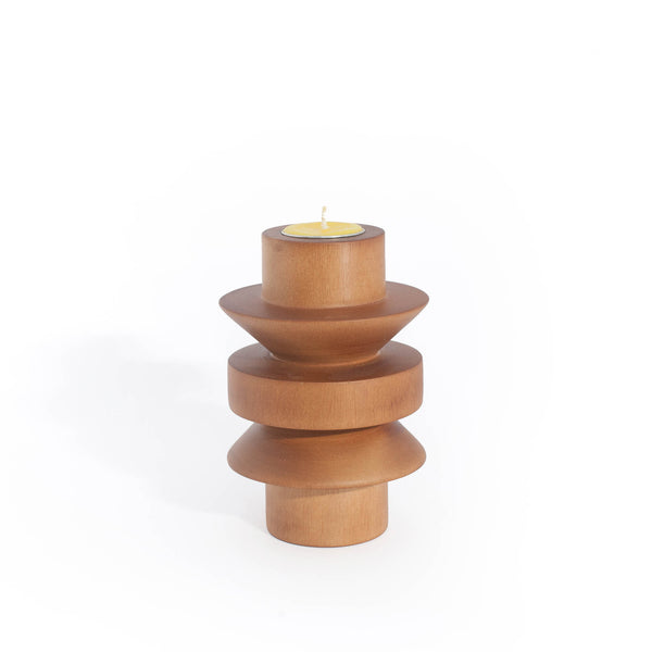 TAATO Natural Wood Mango Wood Candlestick