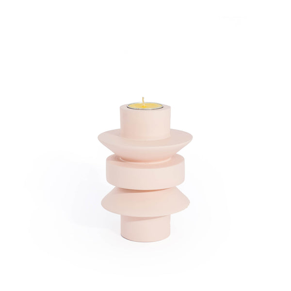 Handmade TAATO Powdered Pink Mango Wood Candlestick