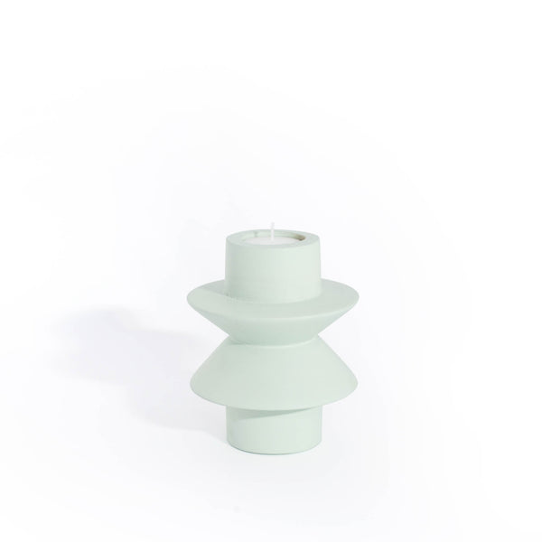 TAATO Light Verdigris Mango Wood Candlestick