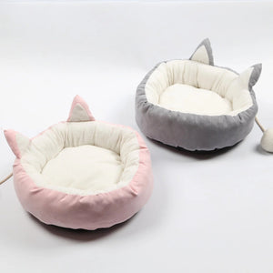 Cute Cat Ear dog Cat bed for Winter Warm Fleece luxury sofa Bed House kennel nest cushion Mattress