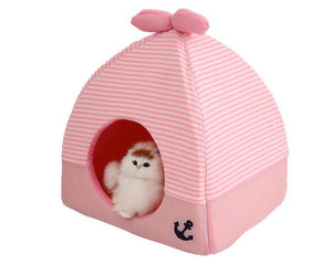 Cute Striped Nautical pet bed cat dog tent house