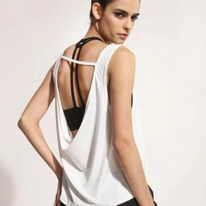 Yoga Quick Dry Women Sleeveless Women's Tank Tops in White Black