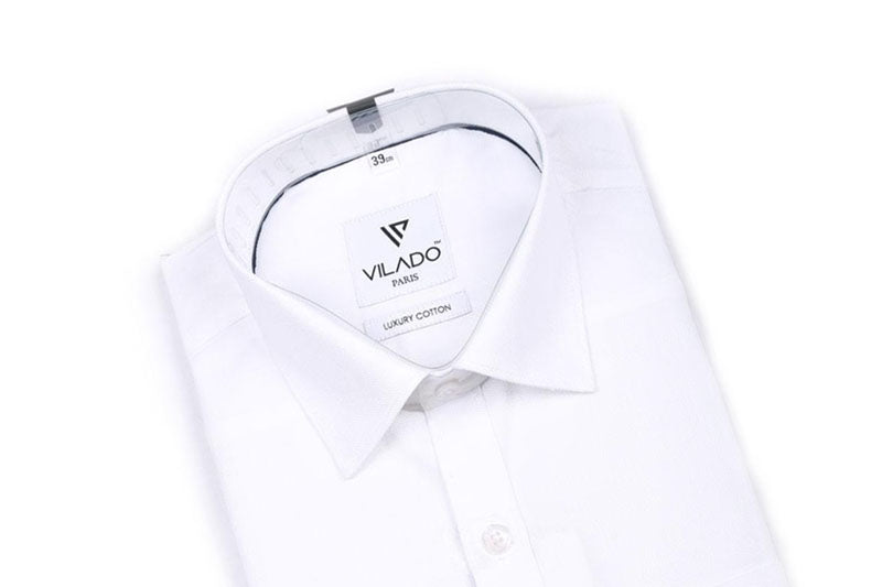 Vilado Paris Men's White Cotton Shirt Premium Sophisticated Style