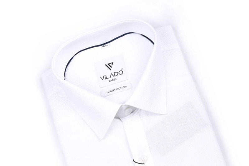 Vilado Paris Men's White Shirt Premium Cotton Formal Timeless Pattern