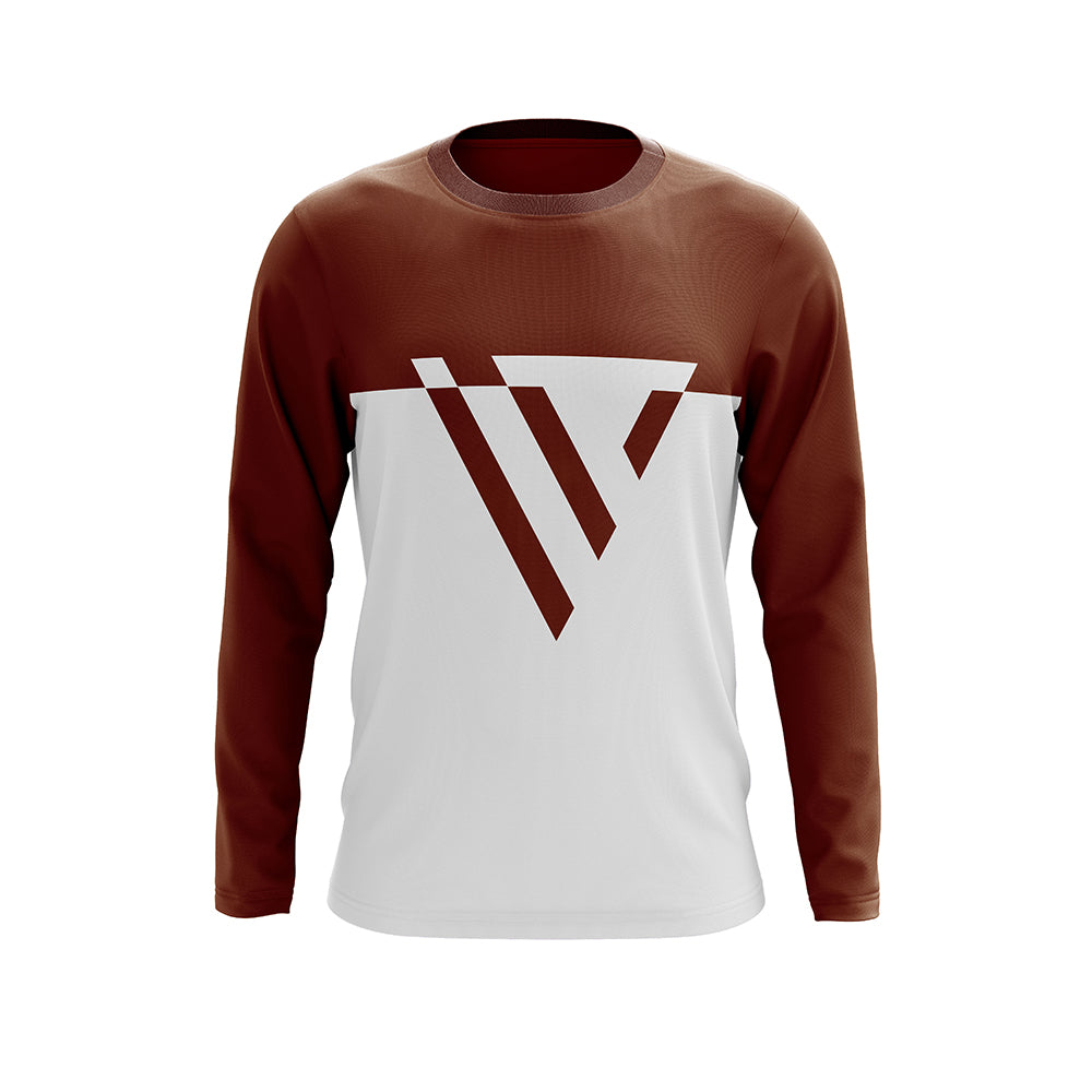 Full-sleeve Brown and White Vilado T shirt For Men