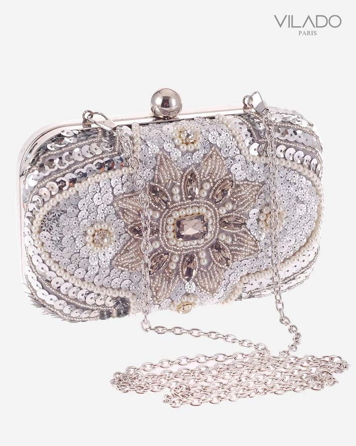 Exquisite Silver Party Clutch Bag