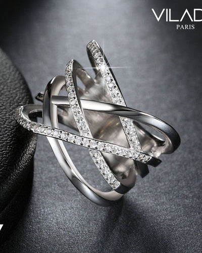 Criss Cross Crystal Cocktail Silver Fashion Ring