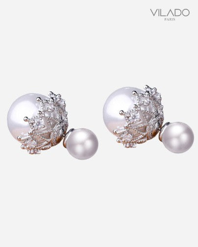 Earrings Pearl White Balls