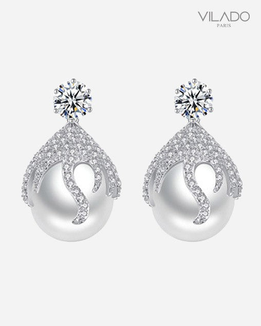 Simulated Pearl Drop Earrings Elegant Flower Diamond Jewelry