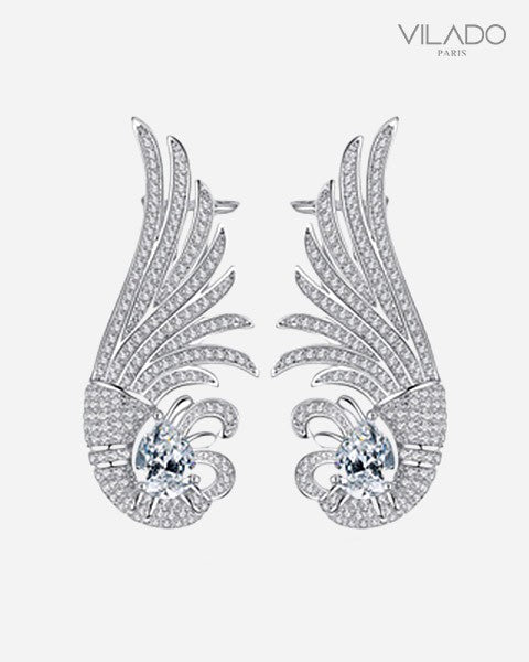 Brilliant Bird Big Stud Diamond Earrings