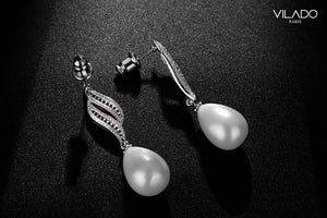 Bridal Wedding Pearl Drop Diamond Earrings