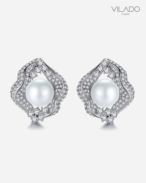 Stylish Pearl Diamond Earrings
