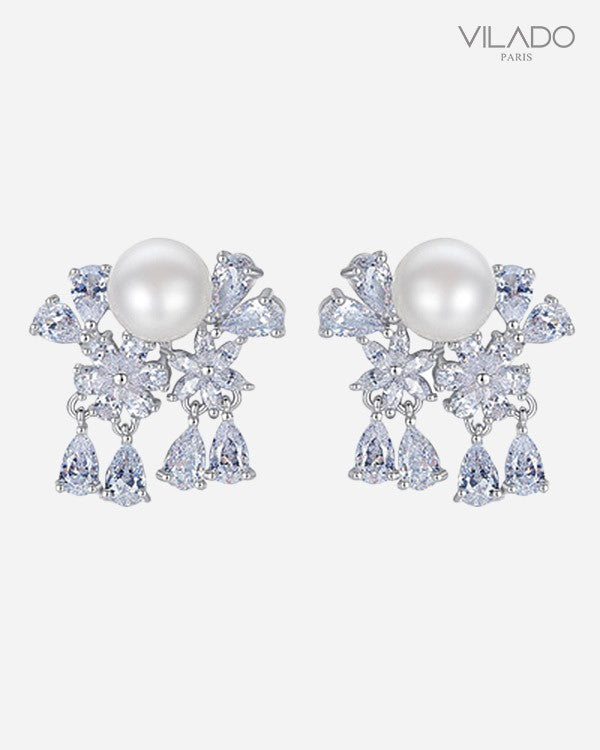 Flower Pearl Stylish Fashion Diamond Earrings