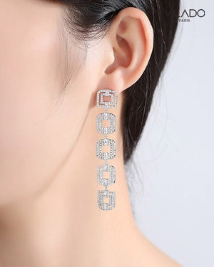 Long Earring Brilliant Square Design Fashion with Diamonds