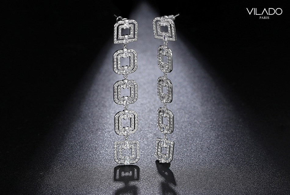 Women Long Earring Brilliant Square Design Fashion with Diamonds ...