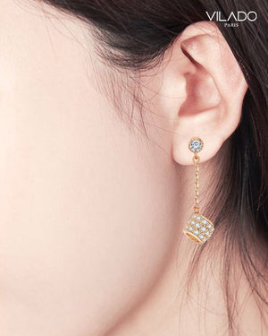 Fashionable Women's Stud Drop Diamond Earrings