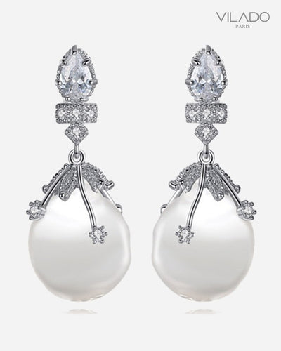 Fashion Ladies Elegant Diamond Pearl Studs Earrings