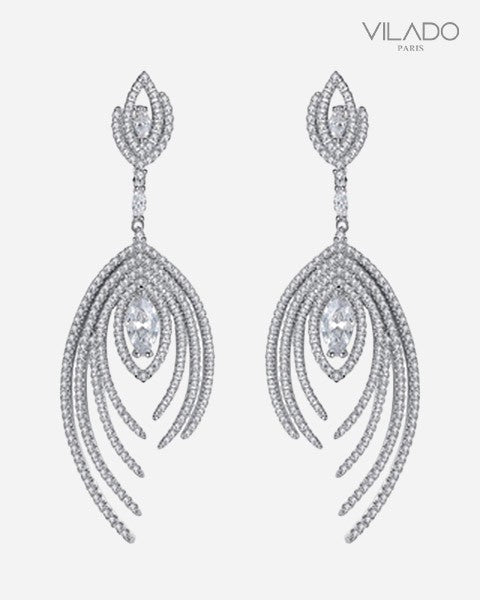 Long way Silver Color Crystal Drop Earrings With Diamonds