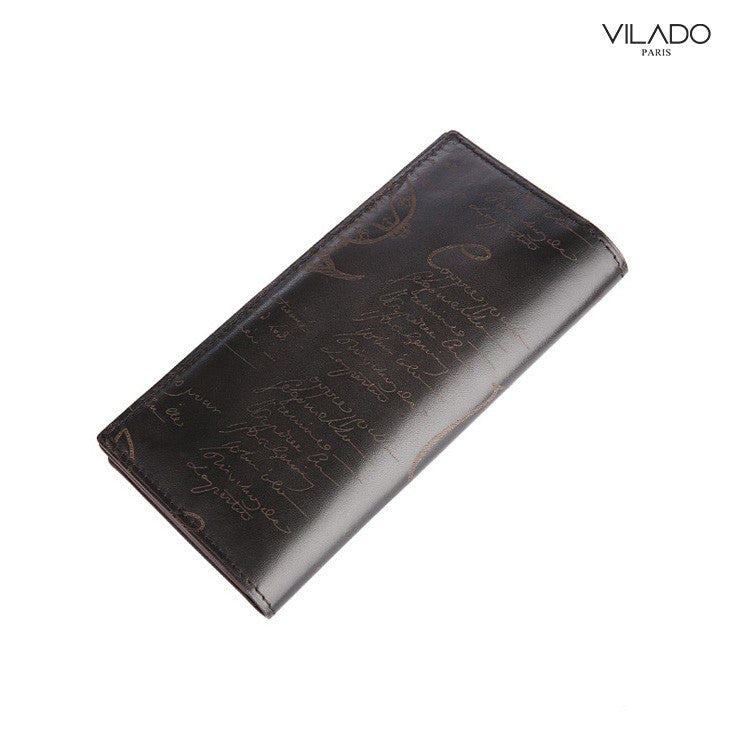 Long Leather Vertical Wallet For Men