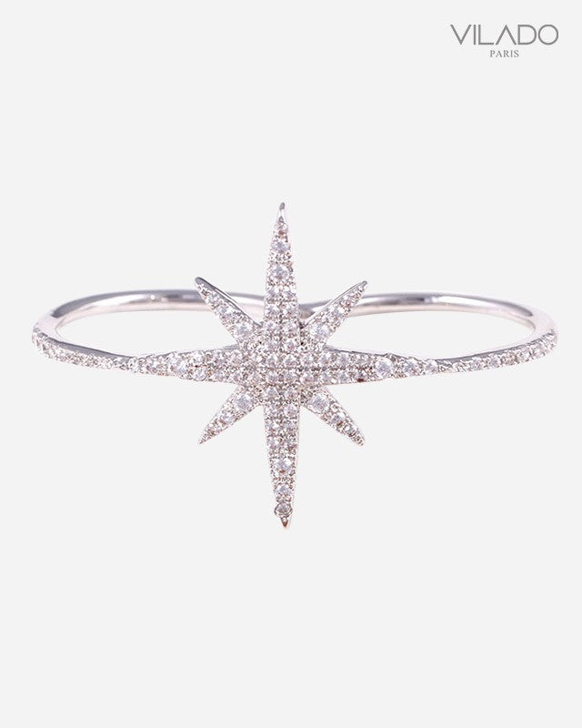 Dazzling Diamond Star Double Finger Ring White Gold Rose Gold