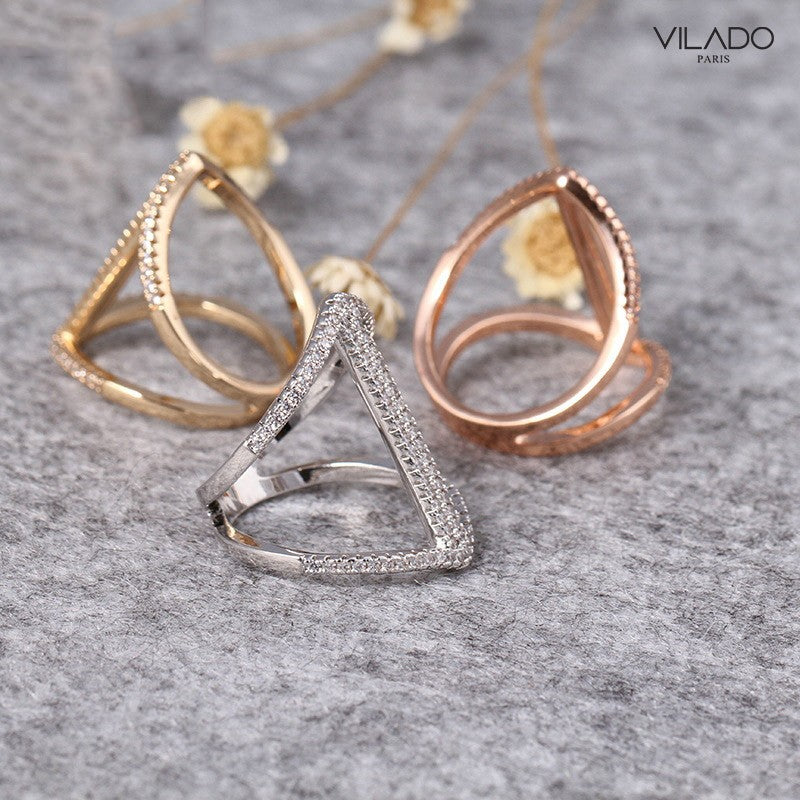 Double Arrow Ring with Diamond