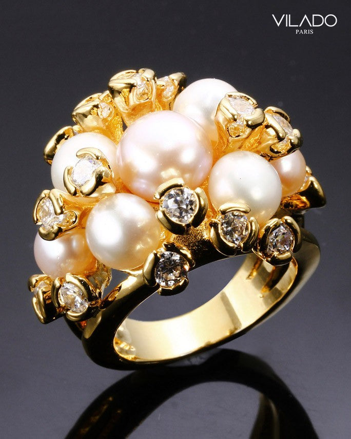 Deluxe Fresh Water Pearl Ring Cubic Zirconia with Diamond