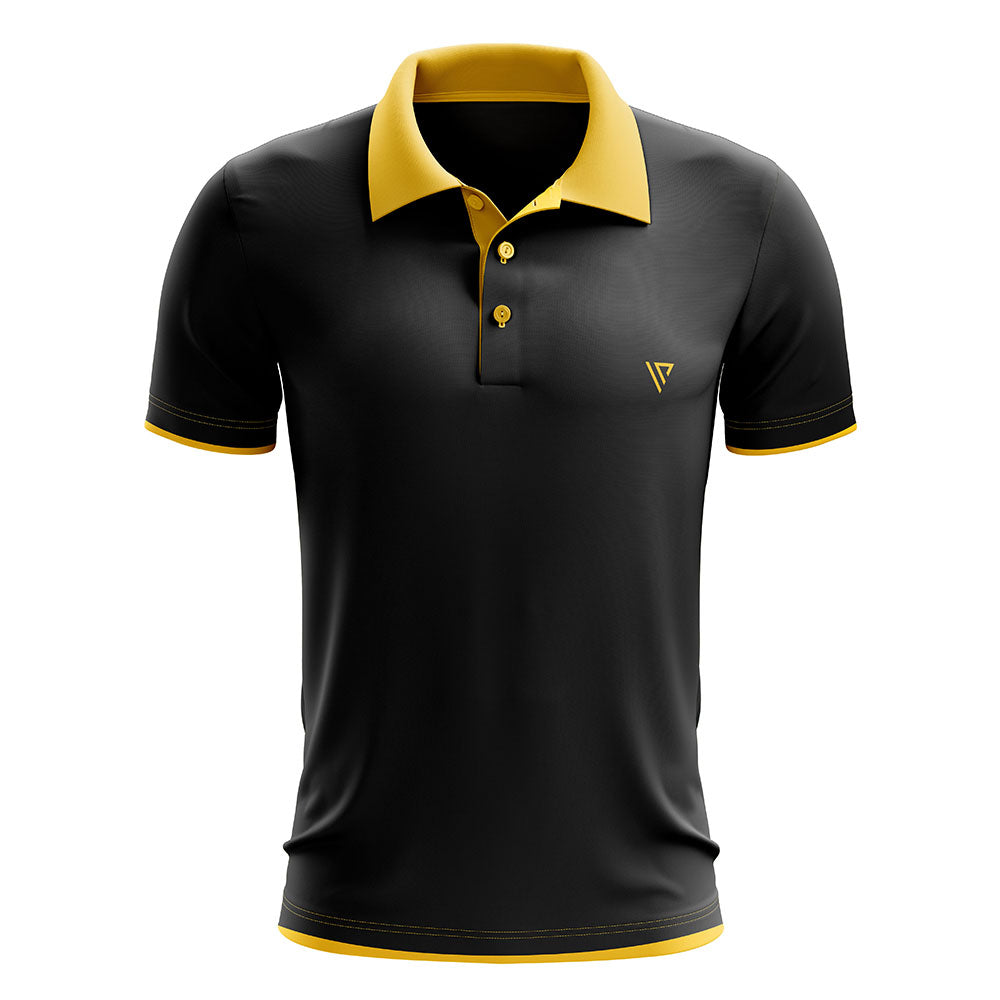 Yellow Black Polo T shirt For Men