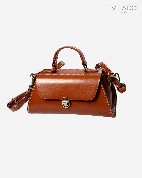 Women's Crossbody Leather Handbag - Camel