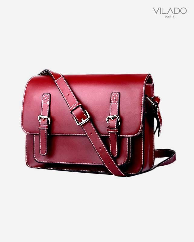 Women's Crossbody Leather Bag - Red