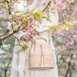 New Arrival Nature Leather Cherry Bucket Bags