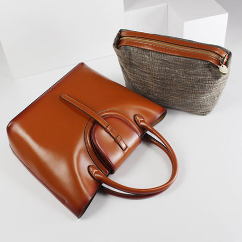 BEST BROWN LEATHER SHOPPER TOTE HANDBAGS WOMENS LEATHER TOTE SHOULDER CROSSBODY BAGS PURSE CLUTCH