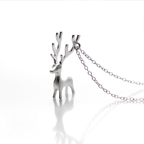 NECKLACE SILVER REINDEER PENDANT CHARM NECKLACE CHRISTMAS GIFT JEWELRY