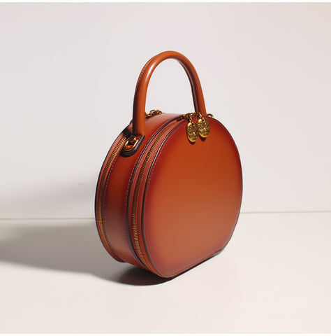 Brown Leather Round Circle Handbags Women's Leather Handbags Shoulder Crossbody Bags Purse Clutch
