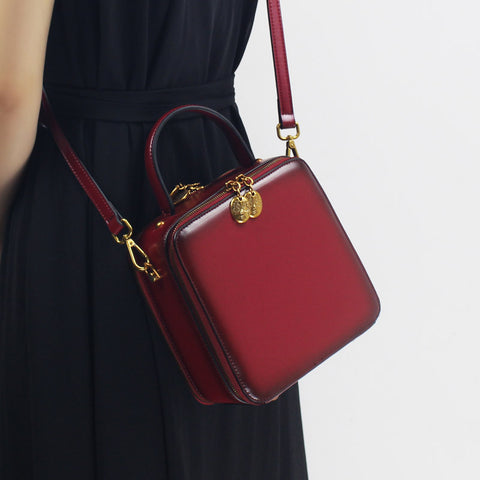 RED LEATHER HANDBAGS WOMEN'S CUBE LEATHER HANDBAGS SHOULDER CROSSBODY BAGS PURSE CLUTCH