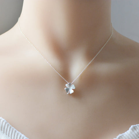 Sterling Silver Necklace Handmade Floral Clover Pendant Charm Necklace Gift Jewelry