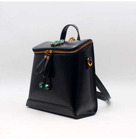 BLACK LEATHER BACKPACK HANDBAGS WOMEN'S LEATHER HANDBAGS SHOULDER CROSSBODY BAGS PURSE