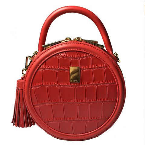 Chic Red Leather Circle Bags Round Purses