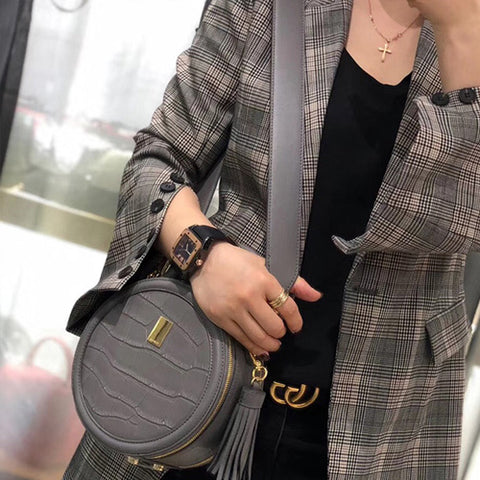 Chic Leather Circle Bags