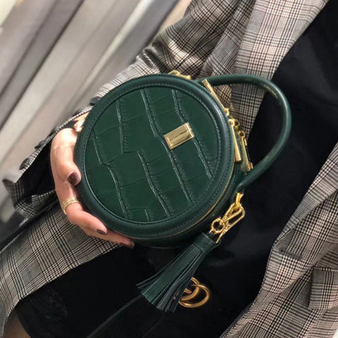 Chic Green Leather Circle Bags Round Purses