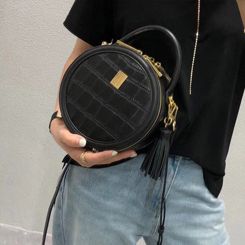 Chic Leather Circle Bags Round Purses