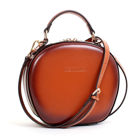 LEATHER BROWN CIRCLE BAG CIRCLE PURSE ROUND PURSE ROUND BAG CROSSBODY BAG HANDBAG CLUTCH