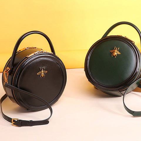 Leather Circle Bag Round Shoulder Bags Small Leather Circle Cross Body Bag