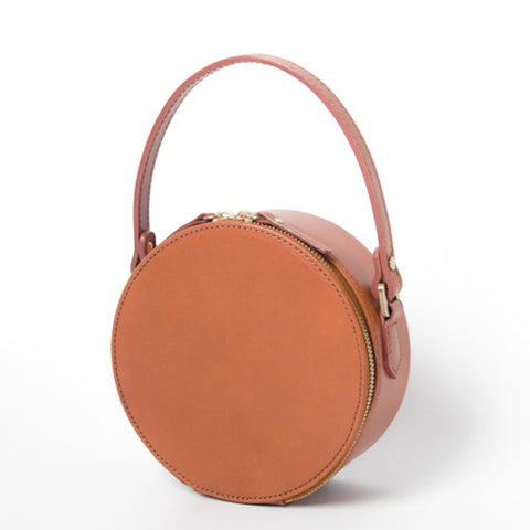 HANDMADE LEATHER CIRCLE BAG CIRCLE ROUND CLUTCH CROSSBODY BAG PURSE