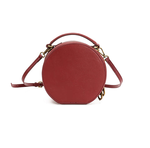 LEATHER CIRCLE BAG CIRCLE PURSE CROSSBODY BAG ROUND BAG ROUND PURSE