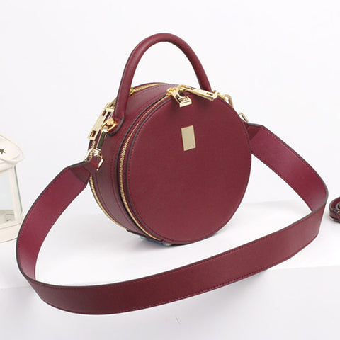 Leather Circle Bag Red Circle Purse Crossbody Handbag Clutch Bags