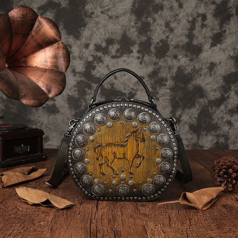 Vintage LEATHER CIRCLE BAG CIRCLE PURSE ROUND PURSE ROUND BAG CROSSBODY BAG HANDBAG CLUTCH