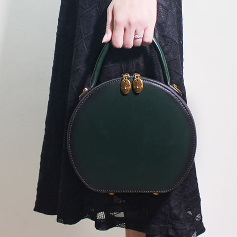 LEATHER GREEN CIRCLE BAG CIRCLE PURSE ROUND PURSE ROUND BAG CROSSBODY BAG HANDBAG CLUTCH