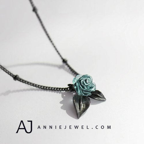 UNIQUE SILVER ROSE NECKLACE FLORAL CHOKERS BRAMBLE CHARM NECKLACE GIFT JEWELRY ACCESSORIES GIRLS WOMEN