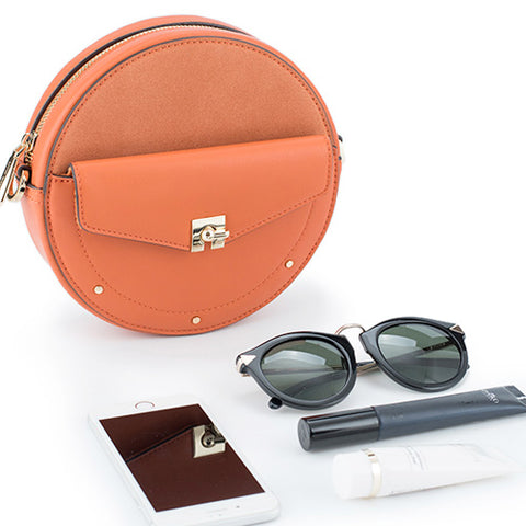 Chic Leather Circle Bag Orange Circle Purse